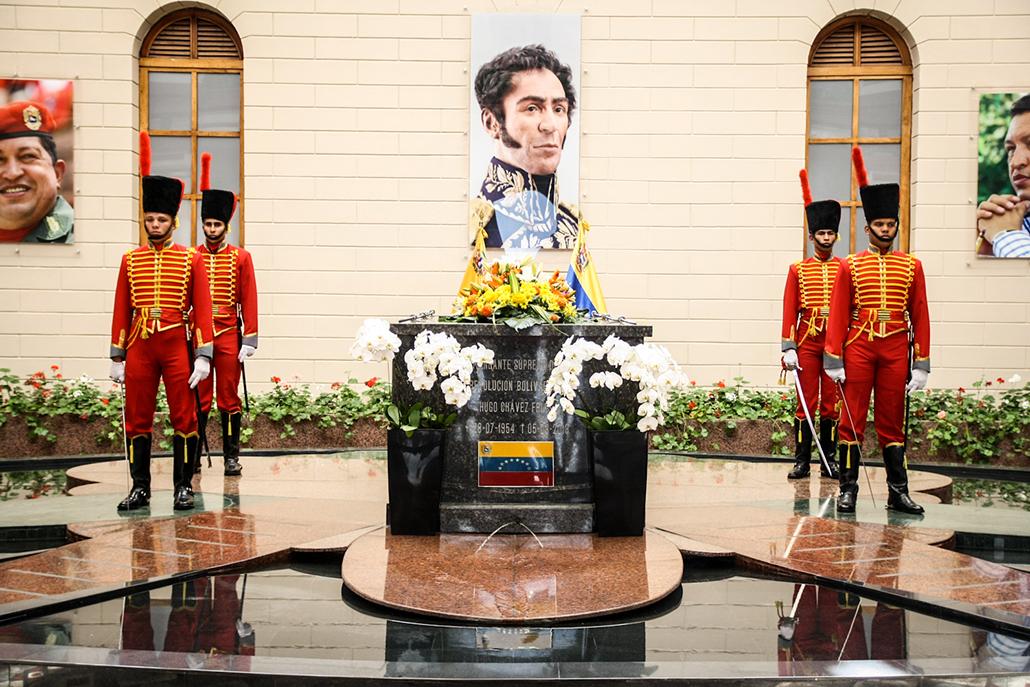 Sarcófago de Chávez en el Cuartel de la Montaña